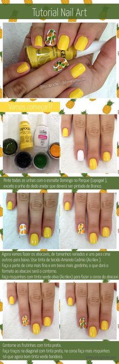 tutorial de unhas decoradas de abacaxi