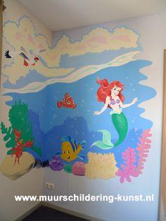 muurschildering kinderkamer kleine zeemeermin
