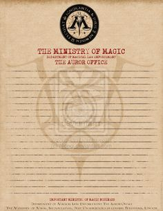 Ministry of Magic note paper