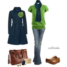 green / navy-blue outfits