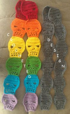 Crocheted Skull Scarf by CrochetedDesign on Etsy, $20.00