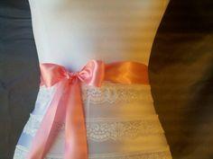 Coral satin ribbon wedding sash belt 1 1/2 by DoIHearWeddingBells, $12.00