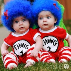 Dr Seuss Thing hats made from feather boas and baby hats