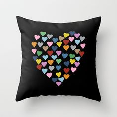 Hearts Heart Black Throw Pillow by Project M - $20.00