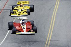 Carlos Reutemann drives the #17 Scuderia Ferrari 312T3 ahead of Jean-Pierre Jabouille in the Renault Turbo RS01 during the United States Grand Prix (West) on 2 April 1978 at Long Beach street circuit in Long Beach, California, United States.