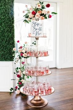 Stop and smell the rose drink tiered table for an engagement party or wedding reception Bridal Shower Decorations, Wedding Decorations, Bridal Shower Drinks, Brunch Party Decorations, Bridal Shower Planning, Bridal Shower Party, Bachelorette Party Planning, White Bridal Shower, Bridal Shower Flowers