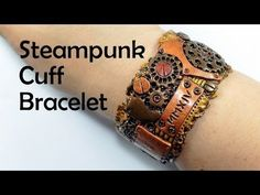 Steampunk cuff bracelet - polymer clay TUTORIAL by Diav Draconia Polymer Clay Bracelet, Fimo Clay, Polymer Clay Projects, Polymer Clay Art, Clay Beads, Clay Earrings, Polymer Clay Steampunk, Biscuit, Clay Videos