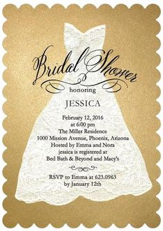 Shimmer Gold Chic: Shower the bride-to-be with a glamorous bridal shower invitation.