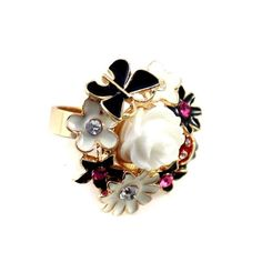 Butterfly Flower Rhinestone Gold Ring DC6R501 $1.50