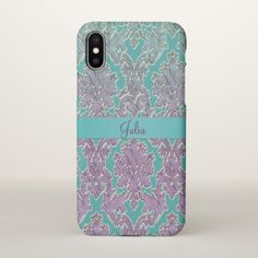 Mint n Mauve Damask Personalized iPhone X Case - antique gifts stylish cool diy custom