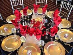 red black and gold table setting