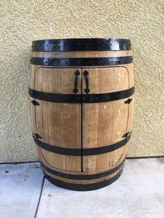Oak Wine Barrel Cabinet, Wine Barrel Furniture,Liquor Cabinet by GreatWoodenCreations on Etsy Wine Barrel Bar, Barrel Sink, Barrel Table, Wine Barrels, Wine Cellar, Tonneau Bar, Vin Palette, Barris, Wine Barrel Furniture