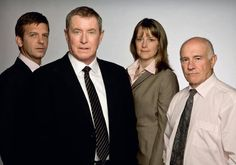'Midsomer Murders' team - Jason Hughes as Ben Jones, John Nettles as Tom Barnaby, Kirsty Dillon as Gail Stephens, and Barry Jackson as George Bullard. Famous Detectives, Tv Detectives, Mystery Show, Bbc Tv Shows, Midsomer Murders, Radios, John Junior, Detective Series, Miss Marple