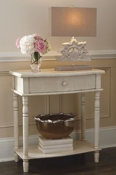 """Justin Wood Table, Cream Shabby Chic Style Distressed Finish, 29.25"""" H  #SimplyAbundant #Table #Console"""