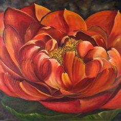 "Sunny Day Dahlia by Shelley Bauer Oil ~ 24"" x 24"""