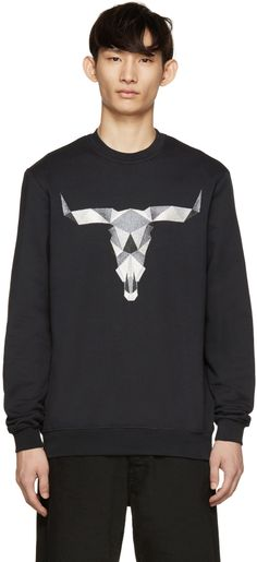 7b9a79d6 Long sleeve sweatshirt in deep navy. Crewneck collar. Bull skull  embroidered at front in