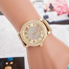 #Women's Fashion Leisure Set Auger Steel Belt Watch