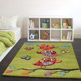 Kinder Teppich Niedliche Eulen Grün Creme Rot Blau Orange Grösse:120170 cm