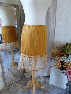 Glam Garb Ruffle Skirt Topaz Gold Yellow Size S/M Handmade USA Romantic Elegant Victorian Steampunk Vintage Hand Dyed Upcycled Retro Embellished OOAK $50.00