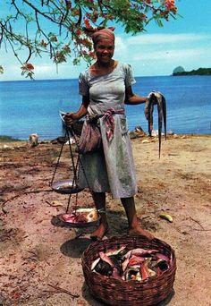 Vendeuse de poissons aux Trois Rivières