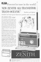Zenith Royal 1000 Trans-Oceanic Radios 1958 Ad Picture