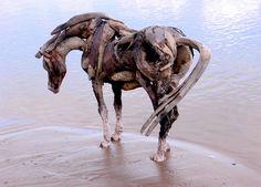 Great driftwood horse sculptures