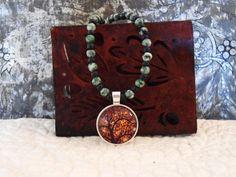Orange Tree Necklace Life Pendant Green Jasper by LandofBridget