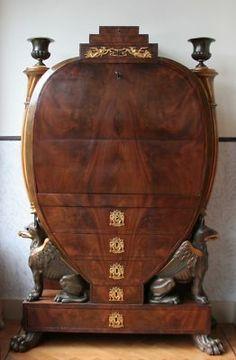 Antique lyre-shaped secretary. Mahogany and sycamore. Probably Biedermeier.