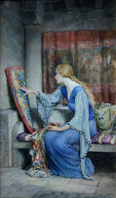 View Awaiting his return by William Henry Margetson on artnet. Browse upcoming and past auction lots by William Henry Margetson. Medieval Art, Renaissance Art, Old Paintings, Beautiful Paintings, Images Esthétiques, Pre Raphaelite, Victorian Art, Classical Art, Painting & Drawing