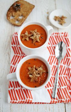 Use those holiday cookie cutters to make star-shaped toppers for roasted red pepper and tomato soup.