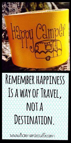 Be a Happy Camper! #happycamper #yellow #leathercuff #harmoniecuffs