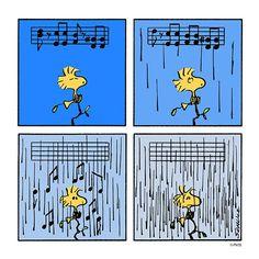 Singing in the rain, or not Mr Woodstock 𗀅𗁠𗁪𗁡𗁣 Peanuts Cartoon, Peanuts Snoopy, Peanuts Comics, Snoopy Love, Snoopy And Woodstock, Peanuts Characters, Cartoon Characters, Snoopy Comics, Charles Shultz
