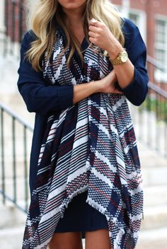 plaid & striped scarf
