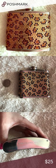 Betsey Johnson Pave Crystal Leopard Flask 💋 Used Once and Cleaned / No Crystals Missing / Stainless Steel Betsey Johnson Accessories