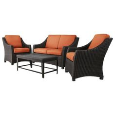 Threshold™ Belvedere 4-Piece Wicker Patio Conversation Furniture Set - Orange
