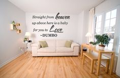 Disney Dumbo Quote Vinyl Wall Decal Nursery Heaven Baby Sticker Home Decor Vinyl Removable Letters (246). $14.99, via Etsy.