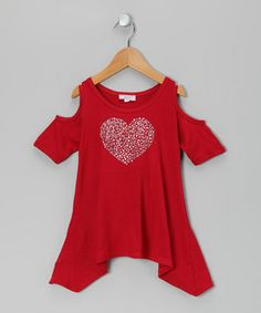 Another great find on #zulily! Sofi Red Heart Sidetail Top - Toddler & Girls by Sofi #zulilyfinds