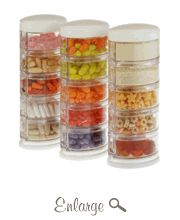 Packin' SMART is a space-saving stackable storage solution for home,  office, and on-the-go. Store and dispense spices, sprinkles, cheerios, candy, loose teas, office supplies, sewing kits and more in one convenient unit