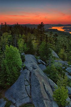 Dawn breaks over Bald Mountain near Old Forge in New York's Adirondack Mountains