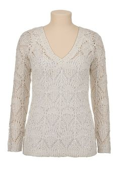 Sequin V-neck pullover Sweater (original price, $39) available at #Maurices