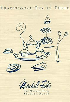 menu for 'Traditional Tea at Three' afternoon tea at The Walnut Room in Marshall Field Department Store, Chicago, c. 1980s, USA