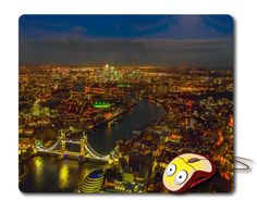 London Panorama View Mousepad Computer Mouse pad Night city skyline London photo Mouse Mat Desk Mouse pad Office gifts London pictures City