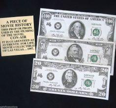 MOVIE COLLECTIBLE! NICHOLAS CAGE's 1997 CON-AIR $20, $50, $100 MOVIE PROP
