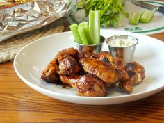 Spicy Chicken Wings and Blue Cheese Sauce #cleaneating #superbowl #appetizers