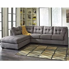 Winston Direct Designer Series Contemporary Microfiber 2 Piece L-Shaped Sectional Sofa with Plush Upholstered Arms and Fixed Pillow Back Cushions