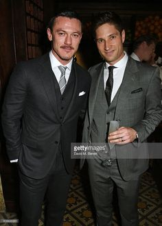 Luke Evans (L) and Joe McCanta attend Harvey Weinstein's pre-BAFTA dinner in partnership with Burberry and GREY GOOSE at Little House Mayfair on February 12, 2016 in London, England.