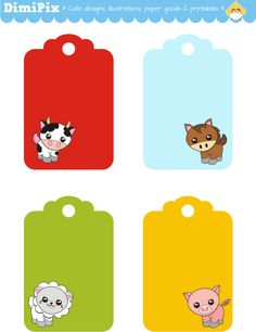 Funny Farm - free printable tags! Also, idea- just print a page of tags & cut out & use as gift tags (from DimiPix) http://dimipix.tumblr.com/post/57448293998/funny-farm-etiquetas-imprimibles-solo