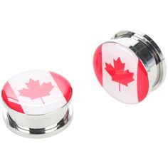 Hot Topic Steel Canadian Flag Spool Plug 2 Pack ($9) ❤ liked on Polyvore featuring jewelry, earrings, steel earrings and steel jewelry