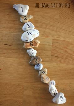 The Imagination Tree writes numbers on pebbles with permanent marker, & then uses them for for counting, ordering & addition maths activities.