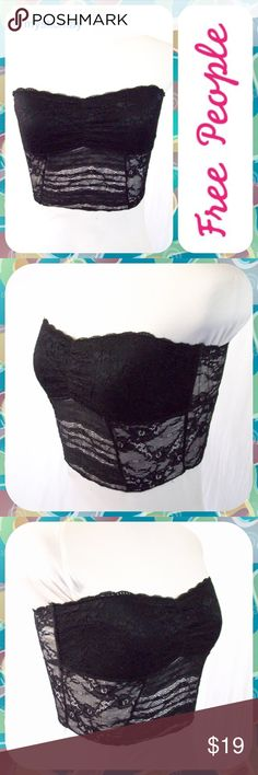 "FREE PEOPLE Black Lace Bandeau Bra Size S Essential black lace bandeau from Free People with scallop lace edging above the bust. Stretchy and comfortable. Lined across the bust and semi-sheer along the midsection and back. Size Small (4/6). Measures 14"" across the chest (laid flat, not stretched) and 9"" in length. Looks Like New! Free People Intimates & Sleepwear Bandeaus"